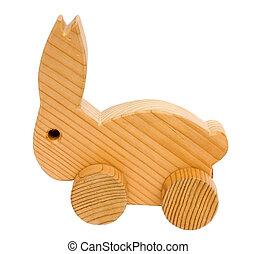 viejo, juguete de madera, conejo