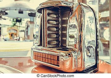 viejo, jukebox, jugador de la música, en, bar, restaurante, vendimia, estilo