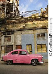 viejo, la habana, fachada, y, coche de la vendimia