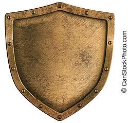 viejo, latón, o, bronce, metal, protector, aislado, blanco