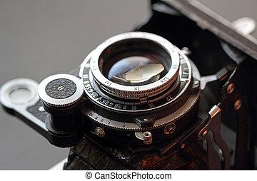 viejo, lente cámara, close-up.