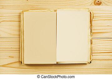 viejo, libro abierto, con, blanco, páginas, desde arriba