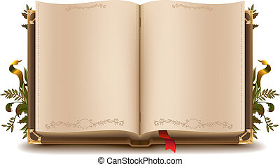 viejo, libro, abierto