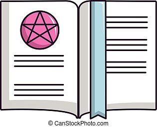 viejo, libro, con, magia, estrellas, icono, caricatura, estilo