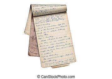 viejo, libro, diario, o, memoria