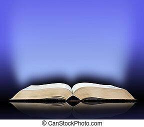 viejo, libro, luz azul, plano de fondo