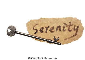 viejo, llave, y, serenidad, palabra