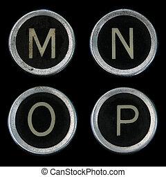 viejo, llaves, m, o, n, p, máquina de escribir