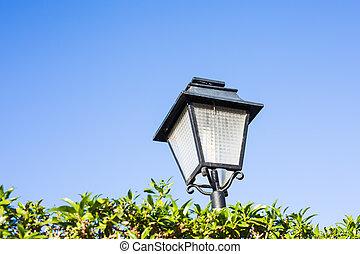 viejo, luz, outdoor., lámpara, calle, formado