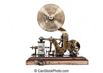 viejo, máquina del telégrafo