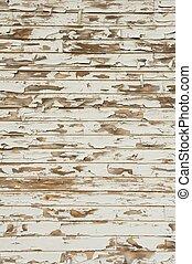 viejo, madera, con, peladura, antigüedad, pintura blanca