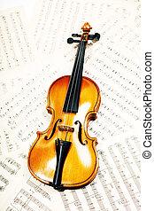 viejo, madera, violín, acostado, notas musicales