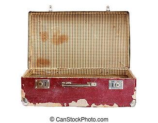 viejo, maleta, aislado, blanco, plano de fondo