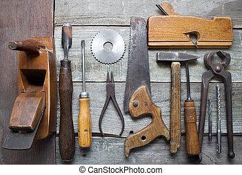viejo, mano, herramientas, tabla