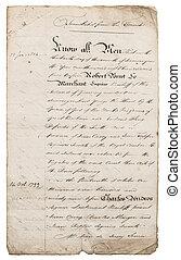 viejo, manuscrito, letter., manuscript., papel, plano de fondo, con, bordes