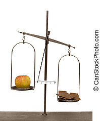 viejo, manzana, escalas, actuación, aislado, chocolate, ...