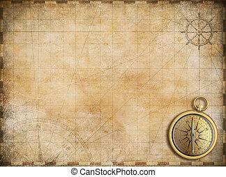 viejo, mapa, con, compás de latón, como, exploración, y,...