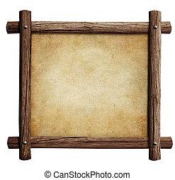 viejo, marco de madera, aislado, o, papel, plano de fondo,...