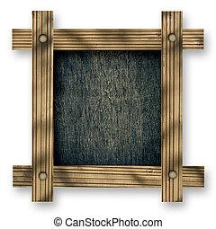viejo, marco de madera, contra, un, blanco