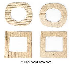 viejo, marrón, cartón, marco, conjunto, aislado, blanco