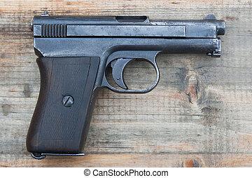 viejo, mauzer, arma de fuego, mano