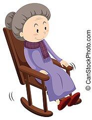 viejo, mecedor, dama, silla