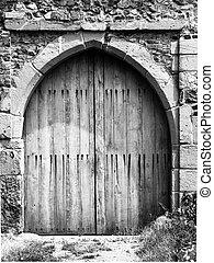 viejo, medieval, de madera, entrada, puerta, a, el castillo