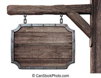 viejo, medieval, de madera, signboard, aislado, taberna, blanco