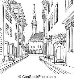 viejo, medieval, estonia, tallinn, vector, pueblo