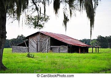 viejo, meridional, granero