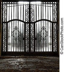viejo, metal, cerrado, puerta