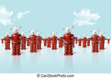 viejo, metal, robotes, ejército