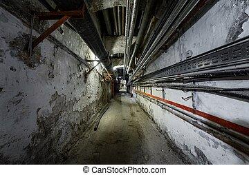 viejo, metro, abandonado, punto, vista, pasaje