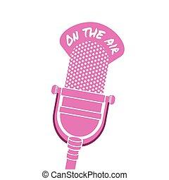 viejo, micrófono, radio, formado