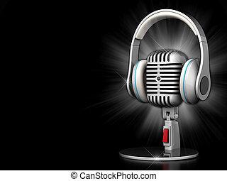 viejo, micrófono