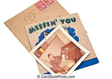 viejo, militar, fotos, y, tarjeta
