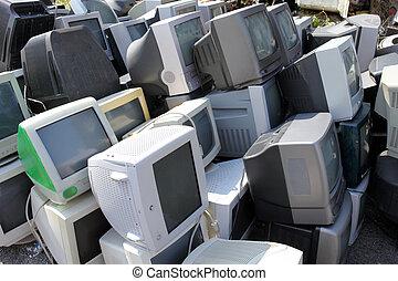 viejo, monitores, computadoras, roto
