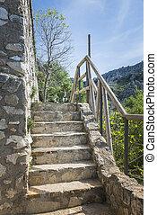 viejo, monumental, escalera