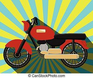 viejo, motos, formado