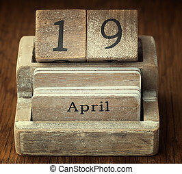 viejo, muy, vendimia, actuación, o, abril, 19, fecha, de madera, calendario