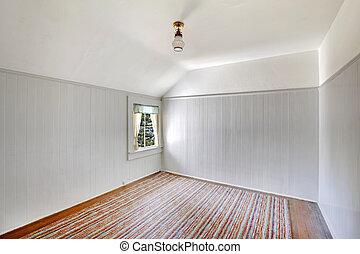 viejo, muy, walls., dormitorio, blanco, vacío