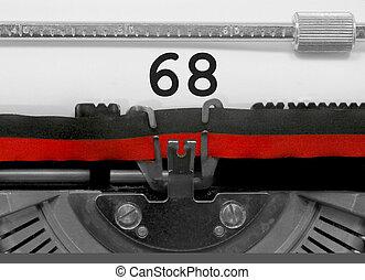 viejo, número, papel, 68, blanco, máquina de escribir