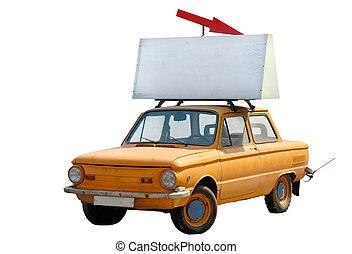 viejo, naranja, coche, con, bandera, encima, aislado