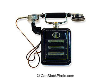 viejo, negro, wall-mounted, teléfono