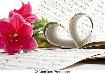 viejo, nota música, hoja, con, flores
