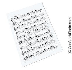 viejo, nota música, hoja