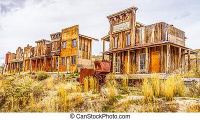 viejo, occidental, pueblo fantasma