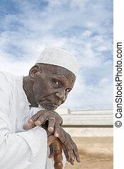 viejo, ochenta, africano, años