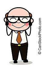 viejo, oficina, tímido, -, ilustración, jefe, vector, retro, caricatura, hombre