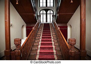viejo, palacio, de madera, -, interior, escaleras